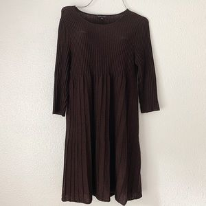 Eileen Fisher Chocolate Brown Pleated Dress